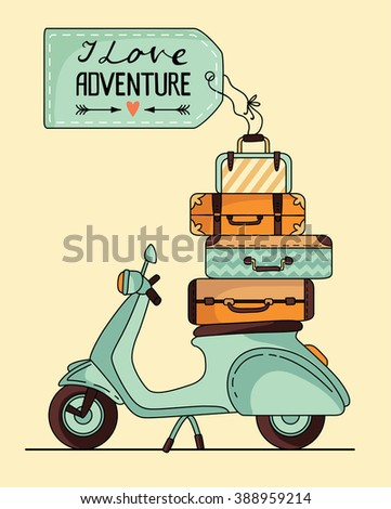 Vintage scooter poster design. Scooter with baggage and label for your text - stock vector