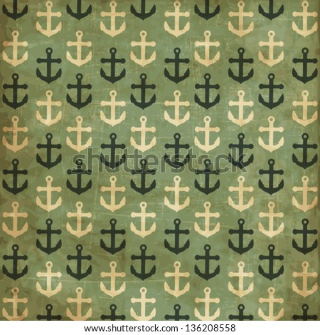 Vintage scrap nautical card with anchor's pattern - stock vector
