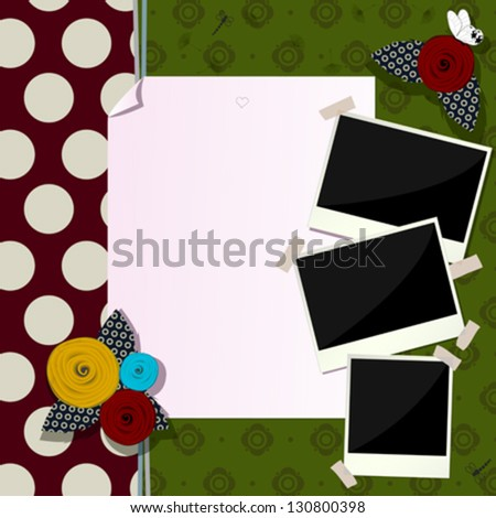 Vintage scrapbook composition with paper like flowers, antique photo frames and butterfly - stock vector