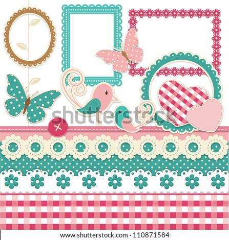 Vintage scrapbook elements set with birds and hearts - stock vector