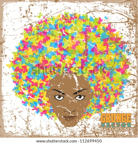 Vintage scratched background with abstract women�´s head. - stock vector