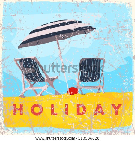 Vintage scratched background with deck chair and umbrella. - stock vector