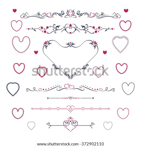 Vintage scroll elements and hearts - stock vector