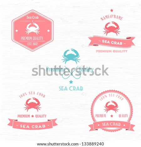Vintage Sea Crab Badge set | Editable EPS vector illustration - stock vector