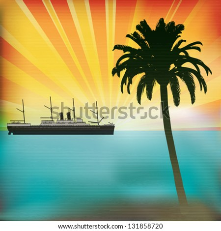 Vintage Sea Cruise, Tropical Vector Background with a sunset and classic Steam Liner - stock vector