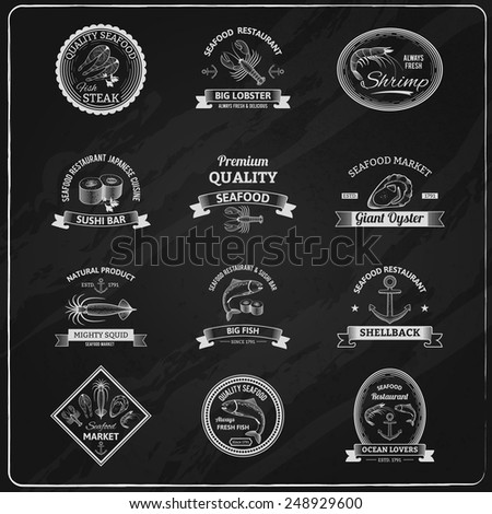 Vintage seafood badges chalkboard set with sushi lobster shrimp oyster isolated vector illustration - stock vector