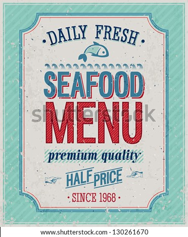 Vintage SeaFood Poster. Vector illustration. - stock vector