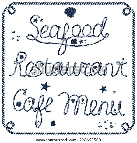 Vintage seafood restaurant cafe menu sign with decorations - stock vector