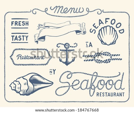 Vintage seafood restaurant collection of decorations, frames and icons - stock vector