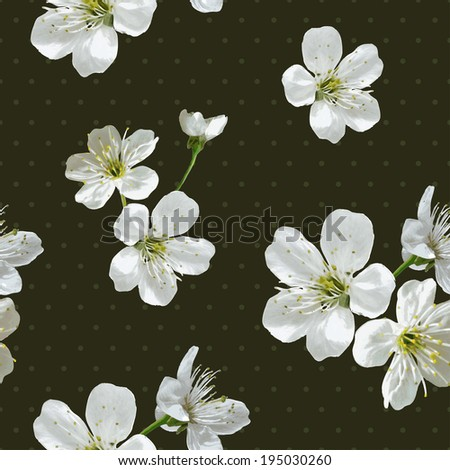 Vintage seamless background with cherry blossoms - stock vector