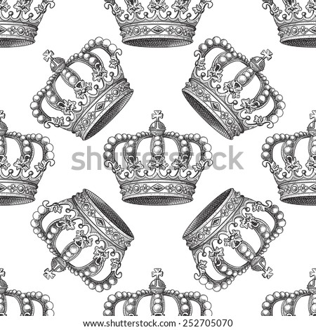 Vintage seamless background with crown pattern. - stock vector
