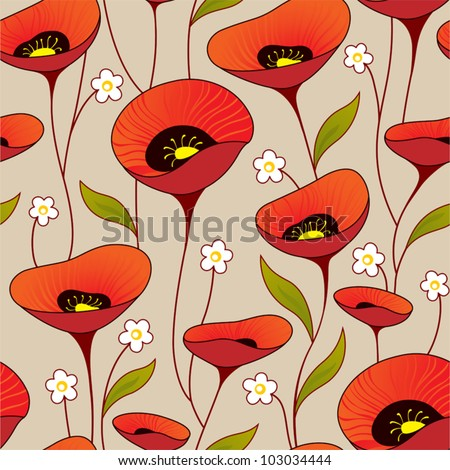 Vintage seamless background with poppies - stock vector