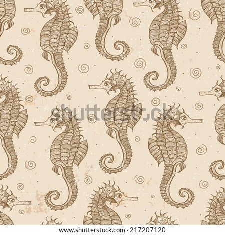 Vintage seamless background with sea-horses  - stock vector