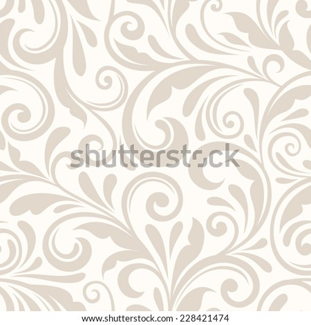 Vintage seamless beige floral pattern. Vector illustration. - stock vector