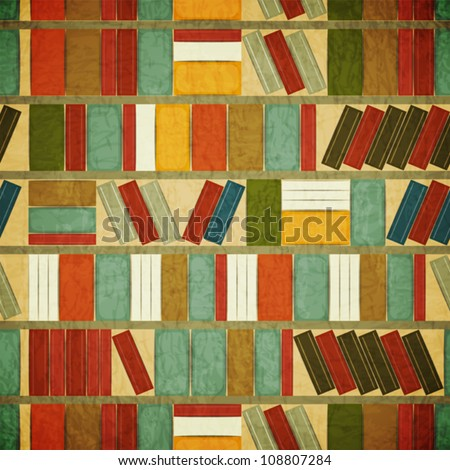 Vintage Seamless Book Background - Bookcase Vector Background - Grunge style - stock vector