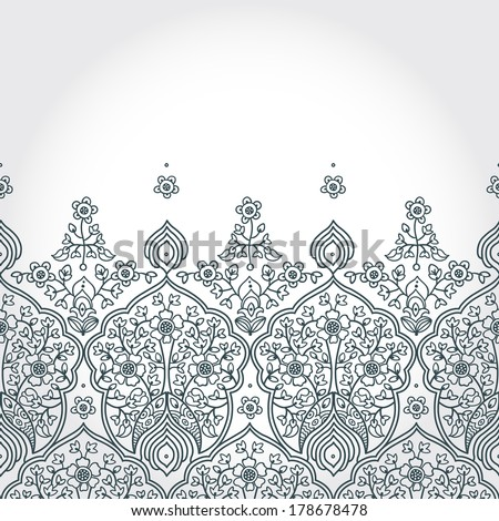 Vintage seamless border with lacy ornament. Floral frieze in east style. It can be used for decorating of wedding invitations, greeting cards, decoration for bags and clothing.  - stock vector