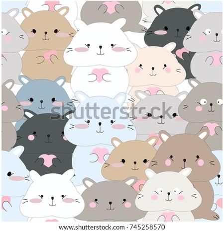 Vintage seamless cute squirrelblue pink grey stock vector vintage seamless cute squirrelblue pink grey pastel colorfulbaby animal cartoon background pattern voltagebd Images