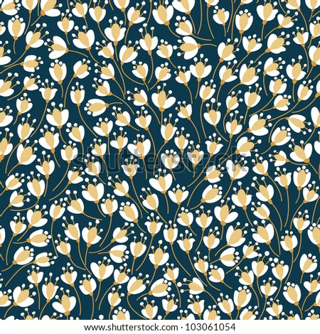 Vintage seamless floral pattern. Vector flowers texture. - stock vector