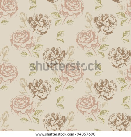 Vintage seamless floral pattern with roses - stock vector