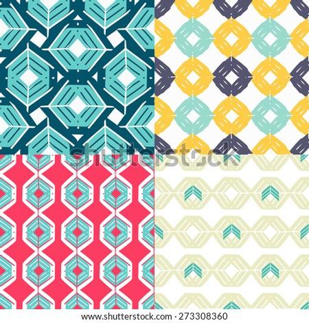 Vintage seamless geometrical patterns set . Creative mosaic fashion wallpaper for design .  - stock vector