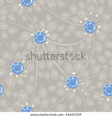 Vintage seamless jewel background with silver chains and leaves - stock vector