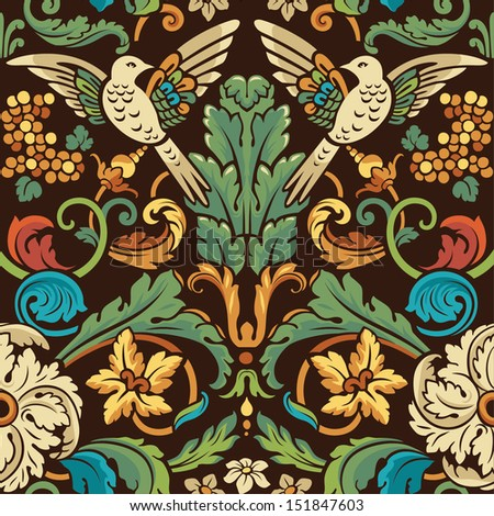Vintage seamless pattern. Birds in flowers in retro colors