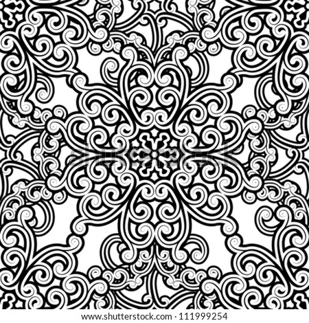 Vintage seamless pattern, black and white floral background, vector illustration - stock vector