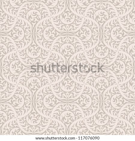 Vintage seamless pattern. EPS-8, endless floral ornament in asian vintage style. Original author's design, hand-drawn. - stock vector