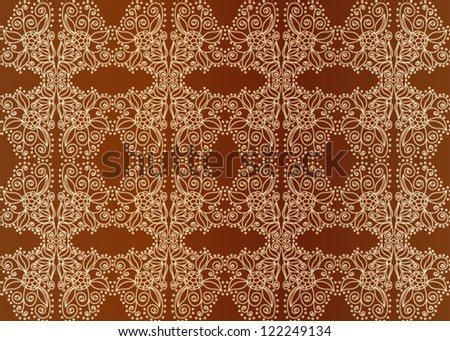 Vintage seamless pattern, golden ornament on brown background or wallpaper. Vector illustration