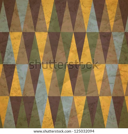 vintage seamless pattern of colored triangles worn - stock vector