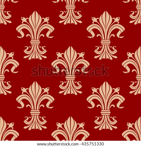 Vintage seamless pattern of decorative fleur-de-lis ornament with beige heraldic lily flowers with buds and victorian leaf scrolls on red background. Use as royal heraldry theme or interior design  - stock vector