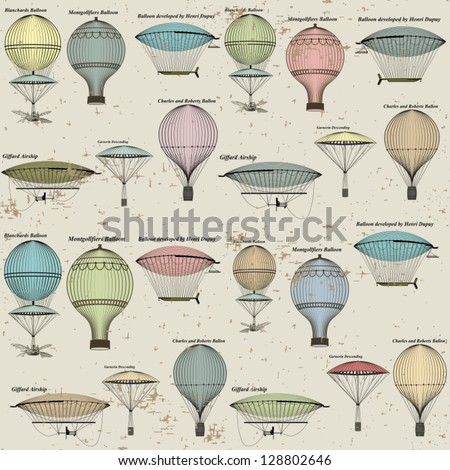 Vintage  seamless pattern of hot air balloons and airships ,  background. Seamless pattern can be used for wallpaper, pattern fills, web page background,surface textures. Gorgeous seamless  background