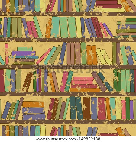 Vintage seamless pattern of library bookshelf with books - stock vector