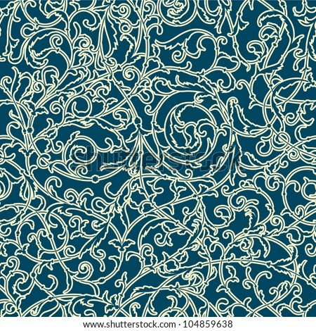 Vintage seamless pattern of weaving plants - stock vector