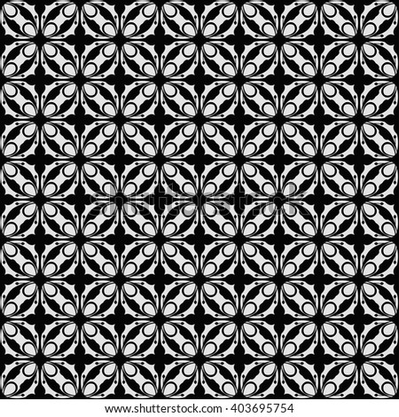 Vintage seamless pattern. White and black illustration - stock vector