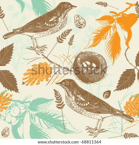 Vintage seamless pattern with birds and eggs