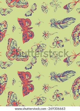 Vintage seamless pattern with butterflies