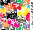 vintage seamless pattern with camera - stock photo