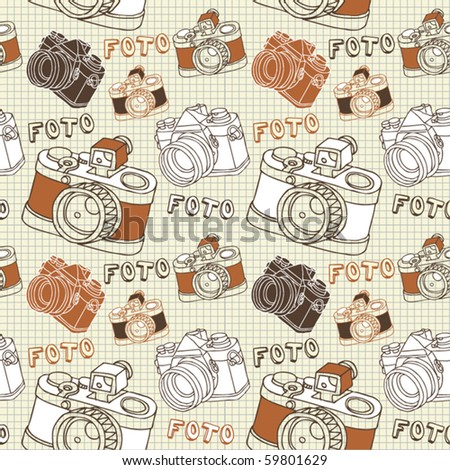 vintage seamless pattern with camera - stock vector