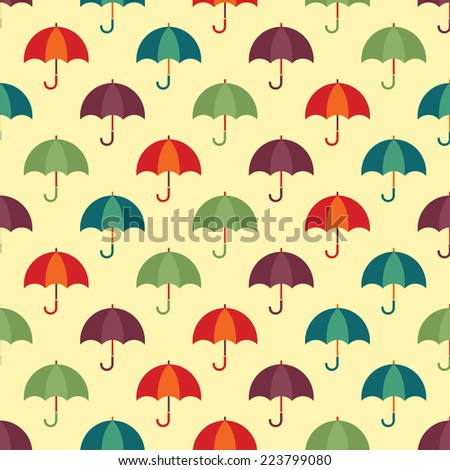Vintage seamless pattern with colorful umbrellas. Vector illustration - stock vector