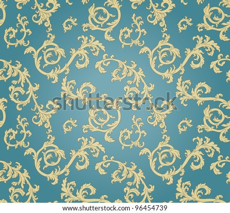 vintage seamless pattern with curls on gradient background - stock vector