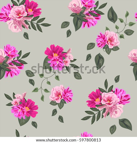 Vintage seamless pattern cute pink flowers stock photo photo vintage seamless pattern with cute pink flowers and fresh twigs hand drawn floral background mightylinksfo