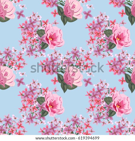 Vintage seamless pattern cute pink flowers stock vector 619394699 vintage seamless pattern with cute pink flowers hand drawn floral background for textile mightylinksfo