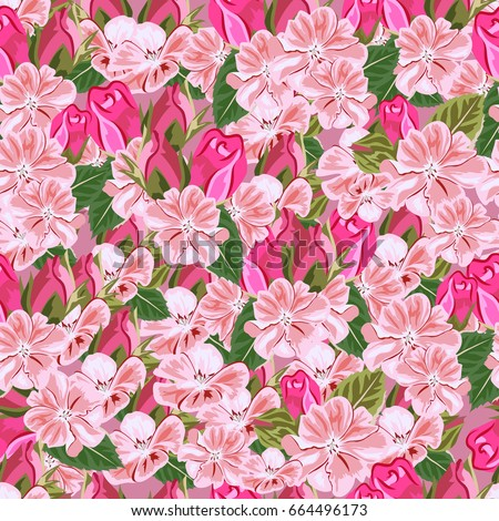 Vintage seamless pattern cute pink flowers stock vector 664496173 vintage seamless pattern with cute pink flowers hand drawn floral background for textile mightylinksfo