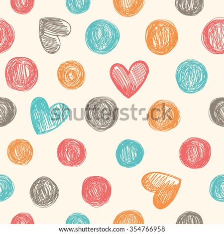 Vintage seamless pattern with dots and hearts. Hand drawn.