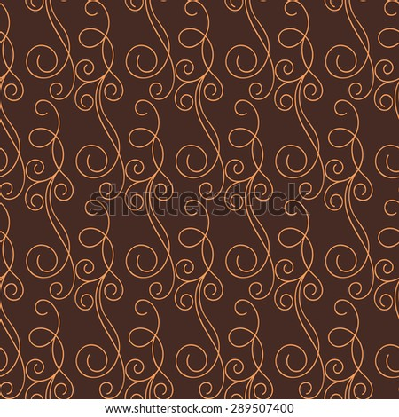 Vintage seamless pattern with floral curls. Repeating abstract background with hand drawn lines. Vector illustration - stock vector