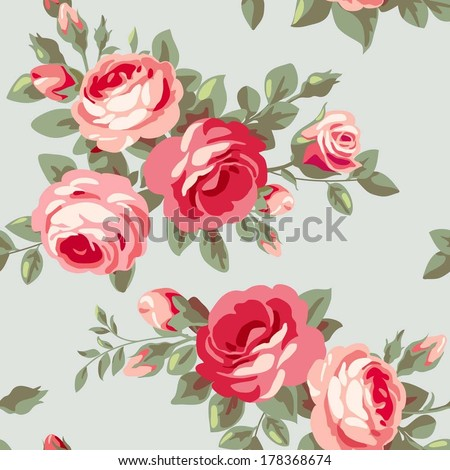 Vintage seamless pattern with flowers. Background with pink blossoming roses - stock vector