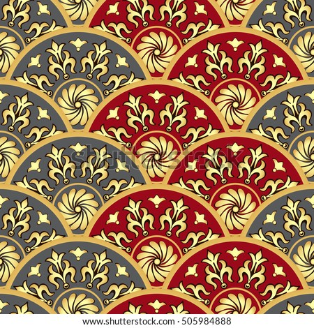 Vintage seamless pattern with gold and gray and red gradient circles, vector