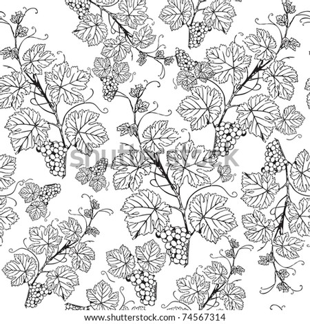Vintage seamless pattern with grape branch - stock vector