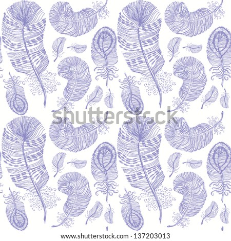 Vintage seamless pattern with hand-drawn feathers on white paper.